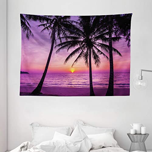 Ambesonne Ocean Tapestry, Palm Trees Silhouette at Sunset Dreamy Dusk Warm Exotic Twilight Scenery Image, Wide Wall Hanging for Bedroom Living Room Dorm, 80 X 60 , Purple Black
