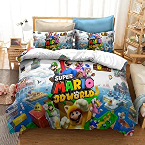 CJYVV Kids Bedding Set 3D Printed Cartoon Super Mario Anime 100% Soft Microfiber Comforter Cover with Pillowcase Decorative Bedroom Student Dormitory Gift (Size : AU Queen 210x210cm)