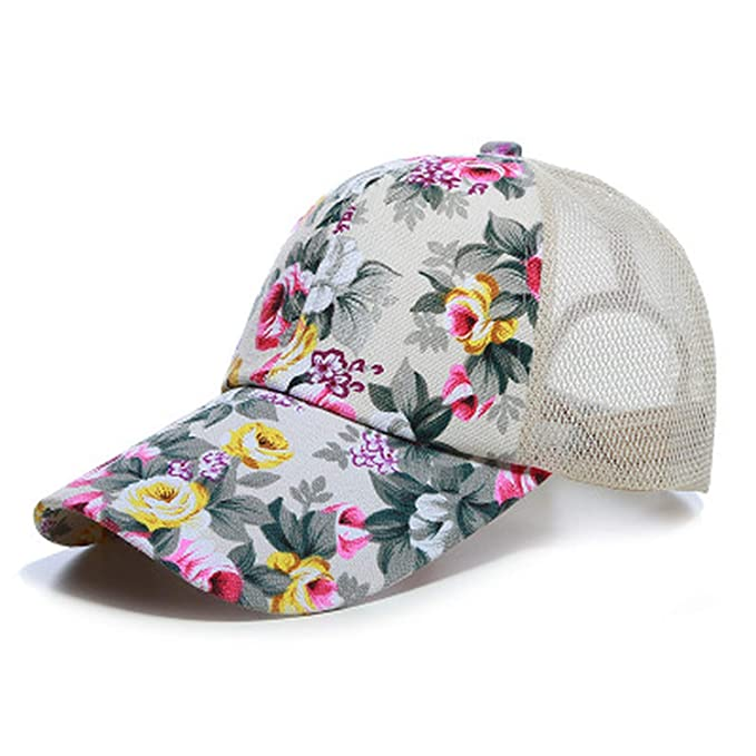 97cf68a15d9 Summer Mesh Trucker Hat Women Floral Baseball Cap Snapback Printed Sun Hats  Hip Hop Hat Fashion