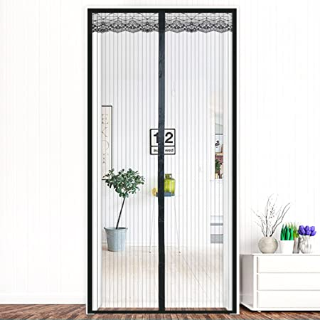 Sundaymot Magnetic Screen Door with Heavy Duty Mesh Curtain and Full Frame  Velcro Fits Door Size up to 35 x 82 inch Max- White
