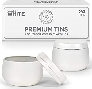 Hearts & Crafts Candle Tin Cans with Lids - 4 oz. White Tin Cans, 24-Pack - for Candles, Arts & Crafts, Storage, and Gifts