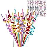Reusable Ice Cream Straws-Plastic Drinking Straws for Kids Birthday Party Decorations - Ice Cream Theme Birthday Party Suppli