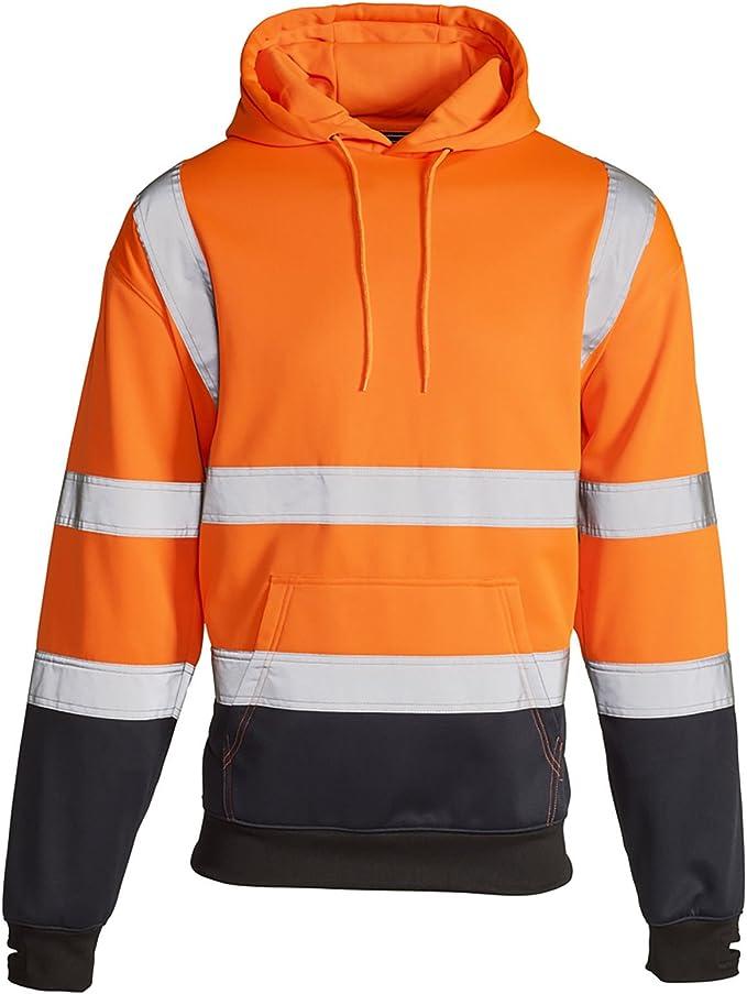 Hi Vis High Visibility Sweatshirt Hooded Hoodie Fleece Workwear Jumper