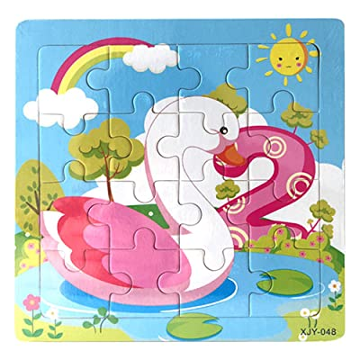 callm Wooden Puzzle Toy, Cartoon Animals Wooden Puzzle Educational Developmental Baby Kids Training Toy (Goose) : Sports & Outdoors