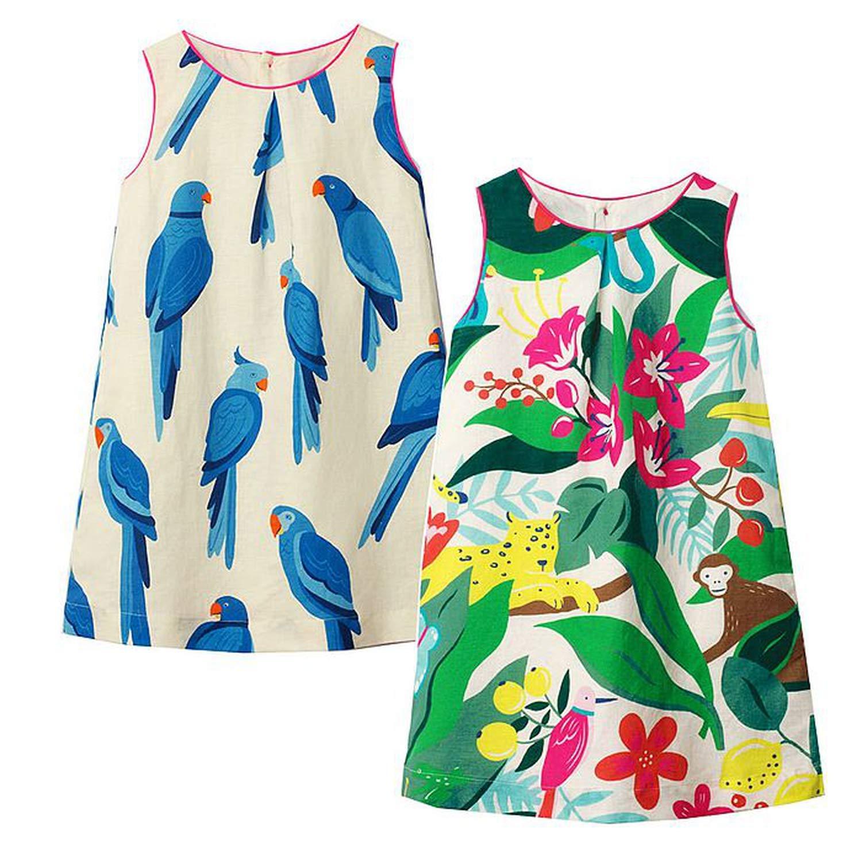 2Pcs Little Girls Summer Dress Party Princess Dress Baby Girl Clothes Animal Applique Kids Dresses for Girls Costume,103,7