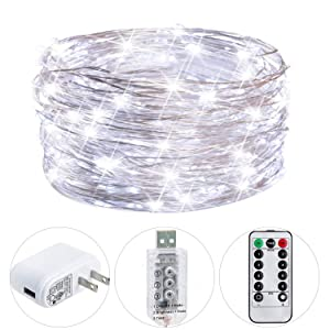 HSicily Fairy Lights Plug in, 8 Modes 33ft 100 LED Decorative Lights with Remote Control Timer USB String Lights for Bedroom Indoor Outdoor Wedding Party Dorm Decor (Cool White)
