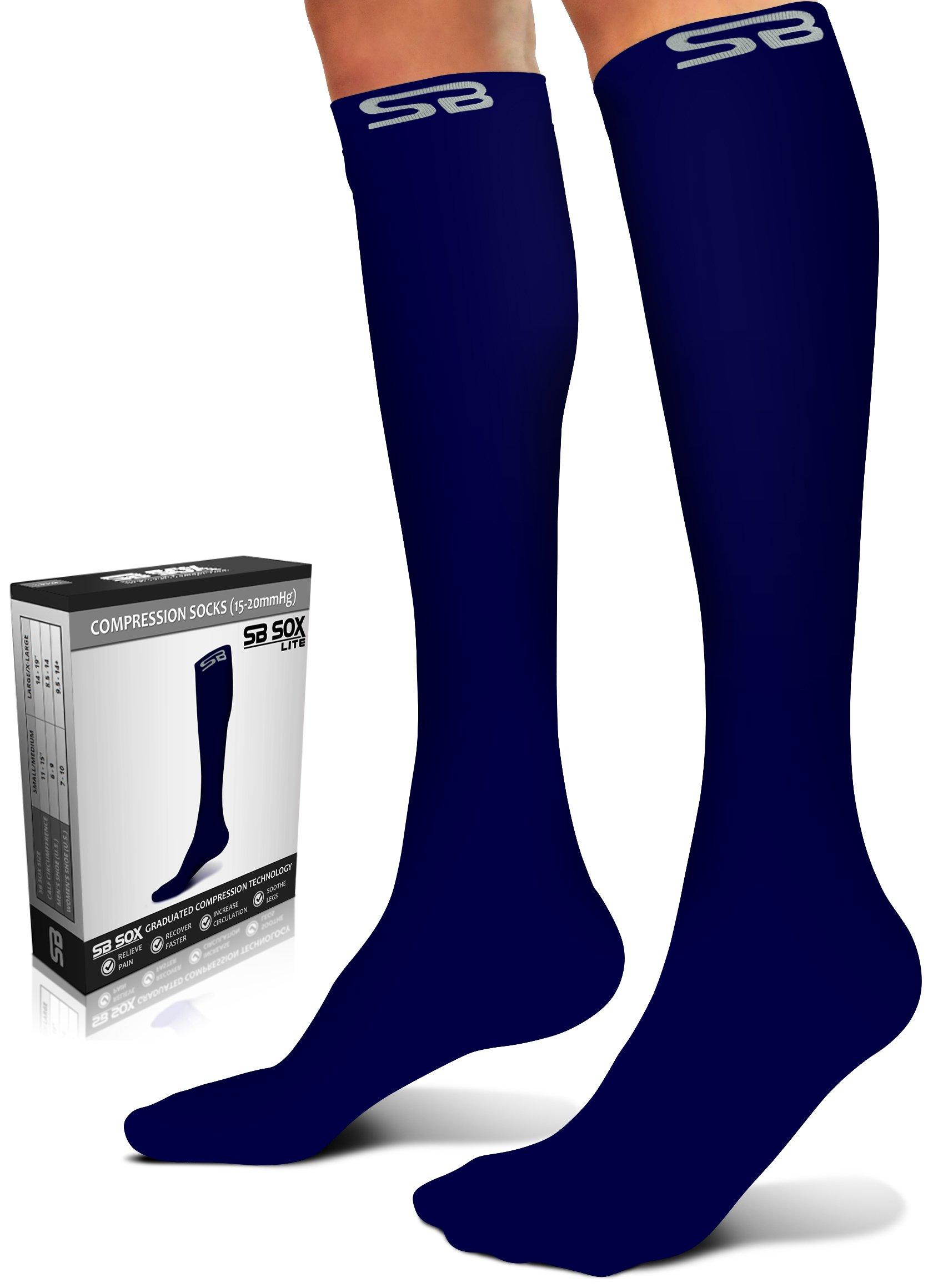 SB SOX Lite Compression Socks (15-20mmHg) for Men & Women - Best Stockings for Running, Medical, Athletic, Edema, Diabetic, Varicose Veins, Travel, Pregnancy (Solid - Navy, S/M)