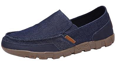 DADAWEN Herrenschuhe Slip-on Leder Loafers Bequem Walking Mokassins Fahren Freizeitschuhe,Blau 45 EU