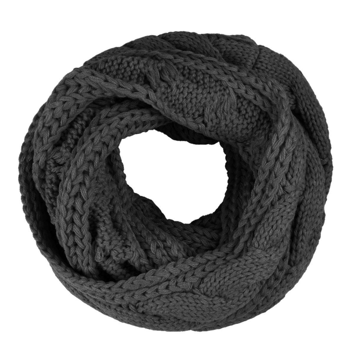 TININNA Bufanda Unisex, Otoño Invierno Cálida Circle Bufanda de Abrigo de Cuello de Punto para Mujer y Hombre-Negro