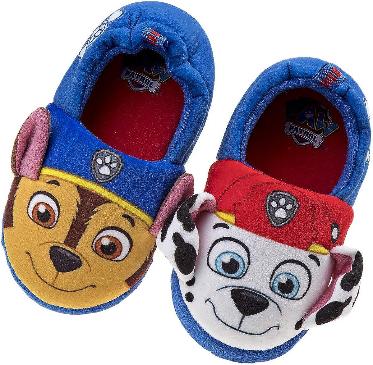 Nickelodeon Paw Patrol Boys and Girls Plush Slip On Slippers Toddler//Little Kid