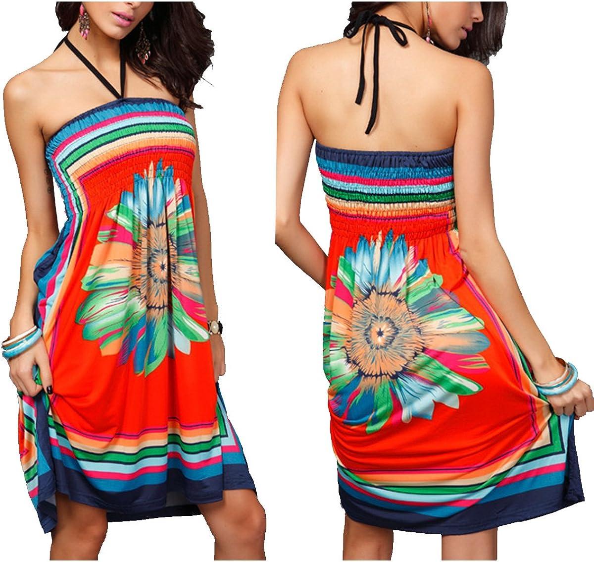 oboss Women Strapless Ethnic Boho Bandeau Beach Sun Dress Loose Bathing Suit Swimsuit Cover Up