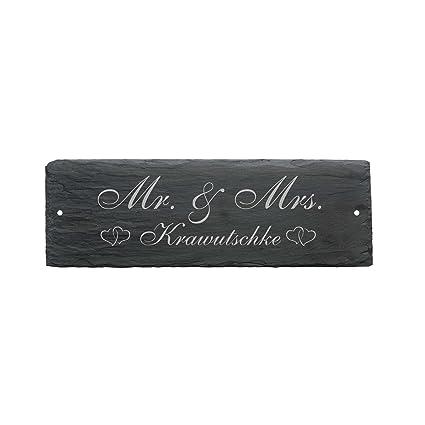 Cartel « Mr & Mrs EHE par » de pizarra - Aprox. 22 x 8 cm ...