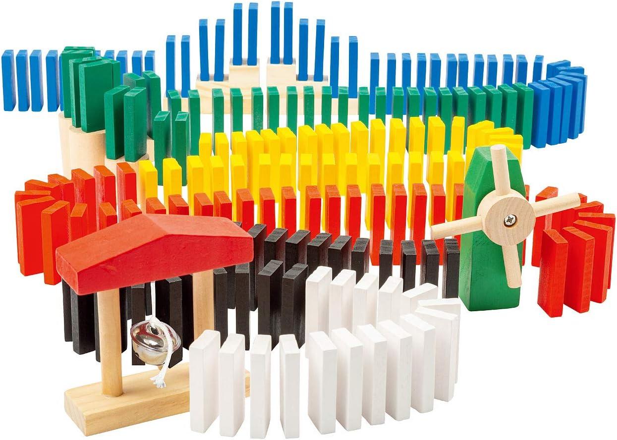 Playtastic Domino-Set mit 1.440 farbigen Holzsteinen und 33 Streckenbau-Elementen