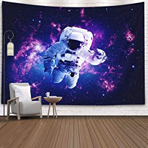 ROOLAYS Universe Space Tapestry Wall Hanging, Galaxy Tapestry Planet Tapestry Home Art Decor Elements This Image Furnished NASA with 80x60 Inches for Living Room Dorm Background Tapestries,Blue White