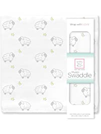 SwaddleDesigns Cotton Muslin Swaddle Blanket, Sterling Little Lambs