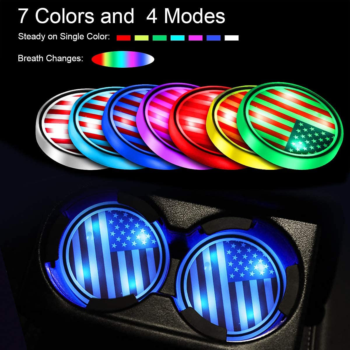 Car Coasters with 7 Colors Changing USB Charging Luminous Bottle Mat LED Car Cup Holder Lights Interior Atmosphere Lamp Decoration Light