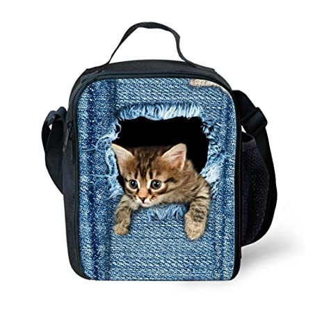 e7eee915f5f HUGSIDEA Cute Animal Cat Print Denim Lunch Box Insulated Tote Bag Food  Lunchboxes  Amazon.co.uk  Kitchen   Home