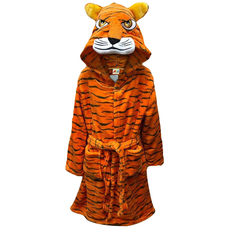 Kids Boys Girls Bathrobe 3D Animal Tiger Fleece Dressing Gown Night Lounge Wear