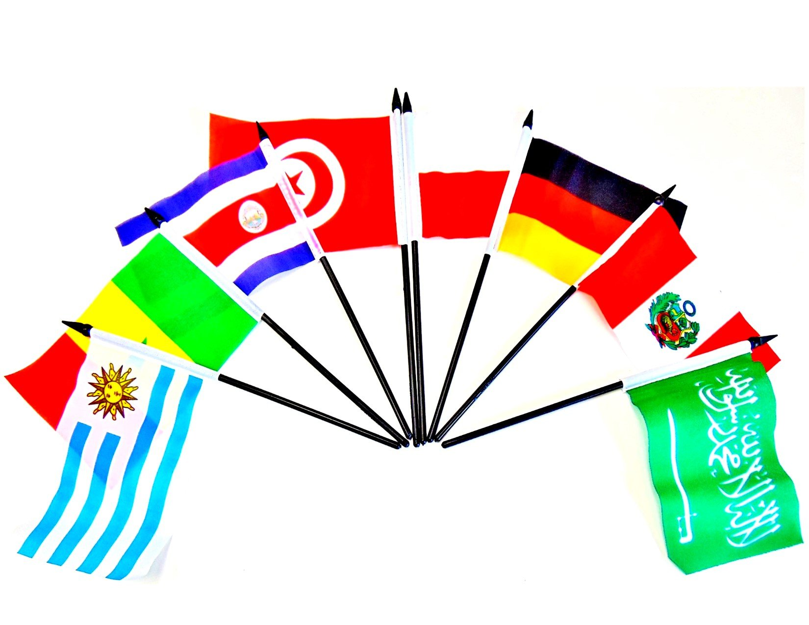 WORLD CUP 2018 SOCCER FLAGS 2018- SET of 32 Polyester 4''x6'' Flags, One Flag for Each Team Competing For the Cup, 4x6 Miniature Desk & Table Flags, Small Mini Stick Flags by World Flags Direct (Image #3)