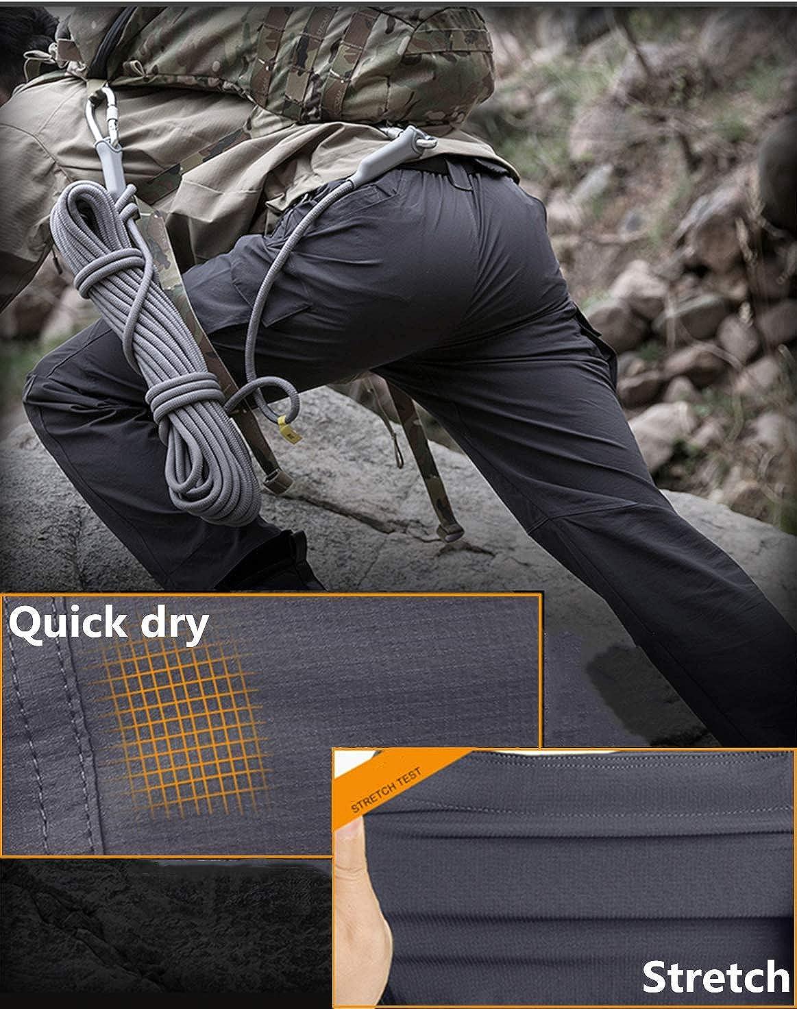 Mens Tactical Cargo Work Trousers Survivor Outdoor Waterproof Military Combat Pants with Elastic Waist. Soldier Tactical Waterproof Pants Combat Hiking Outdoor