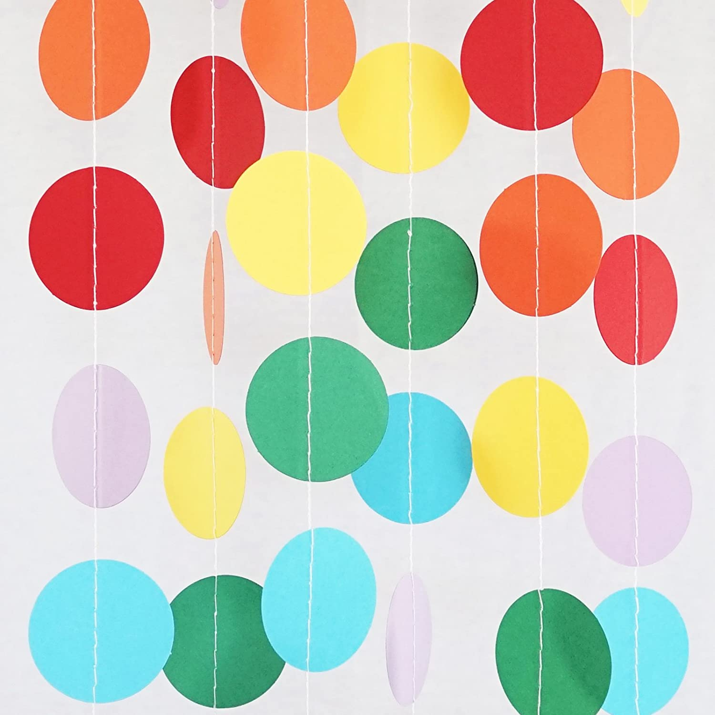 Chloe Elizabeth Circle Dots Paper Party Garland Streamer Backdrop (10 Feet Long) - Circus Rainbow