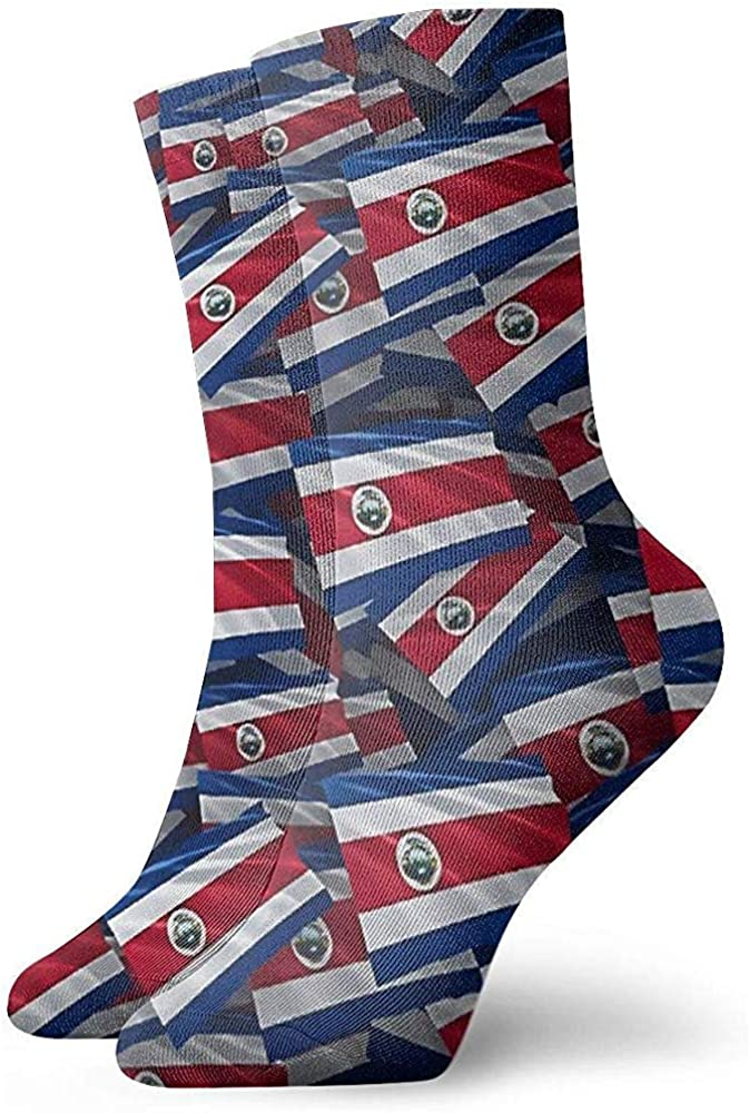 Adamitt Novedad Funny Crazy Crew Sock Costa Rica Flag Impreso Sport Calcetines deportivos 30Cm de largo Calcetines de tubo personalizados Calcetines de regalo