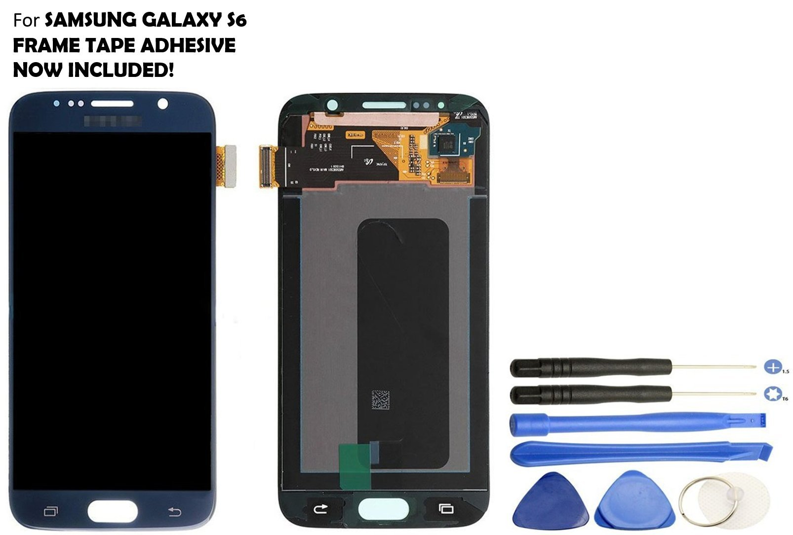 Galaxy S6 LCD Screen Replacement + Touch Digitizer Assembly for Samsung Galaxy S6 G920 G920A G920P G920T G920V G920R4 G920F , with Repair Tools (Black/Blue) by Veritas Cellular (Image #1)