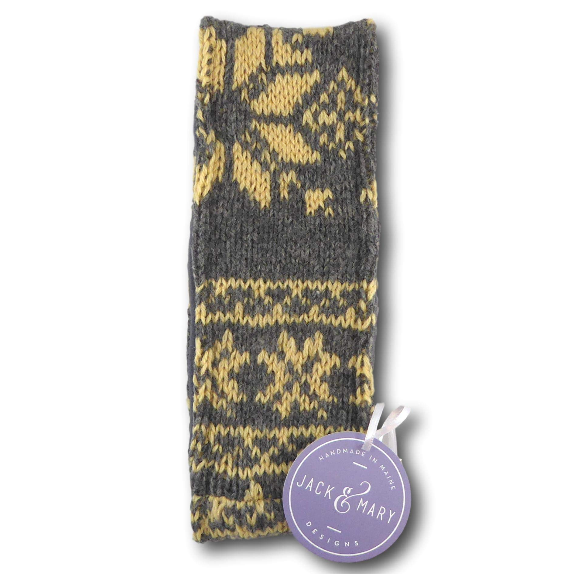 Jack & Mary Designs Fleece Lined Knit Headband - Made from Recycled Wool Sweaters (Gray/Tan)