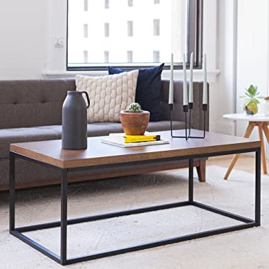 Nathan James 31101 Doxa Solid Wood Modern Industrial Coffee Table, Black Metal Box Frame With Dark Walnut Finish