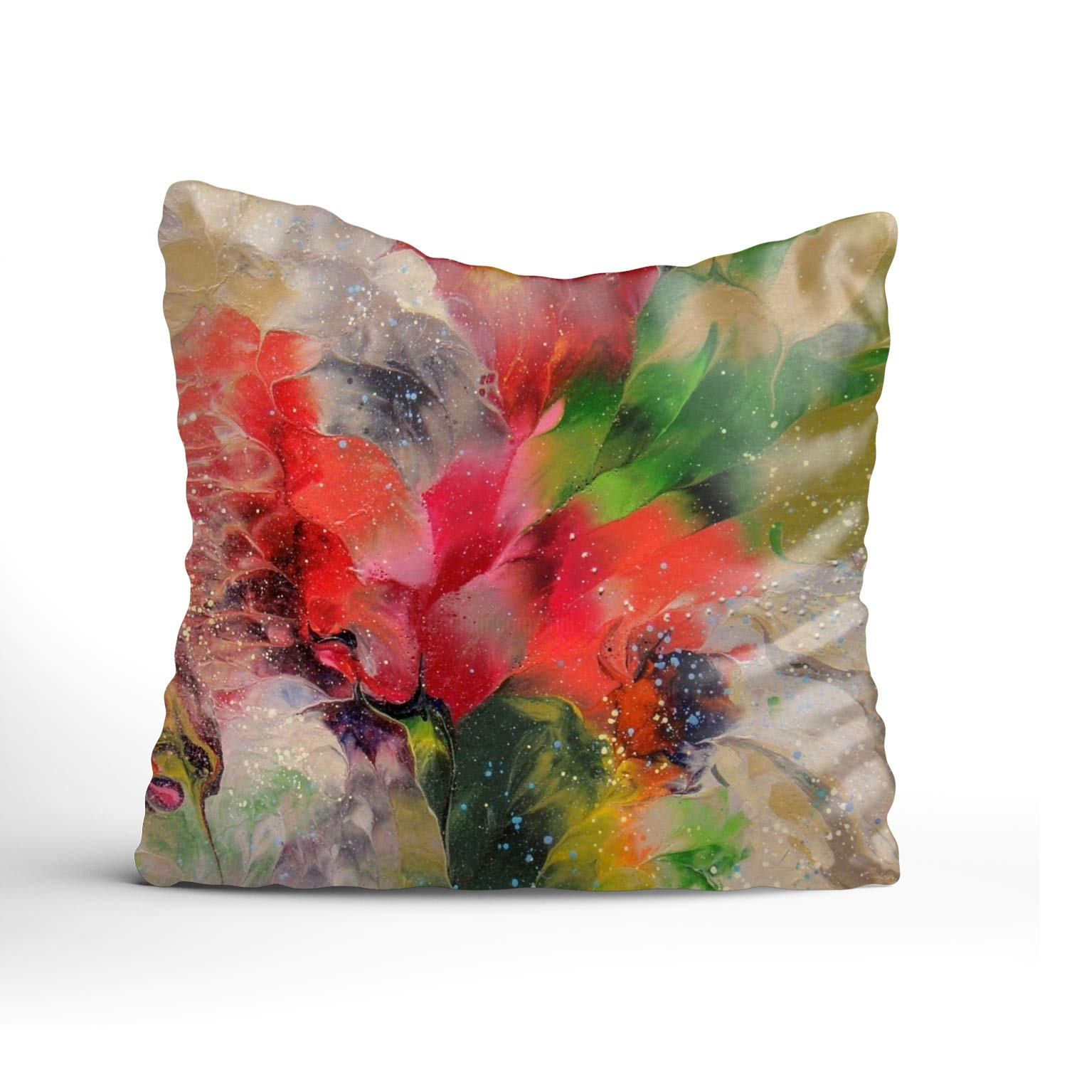 FunnyLife ラビットカートゥーン スローピローケース 亜麻布クッションカバー 車のソファ ホームデコレーション 16x16 16x16 Abstract Floral Small Painting3 B07GWV28GW