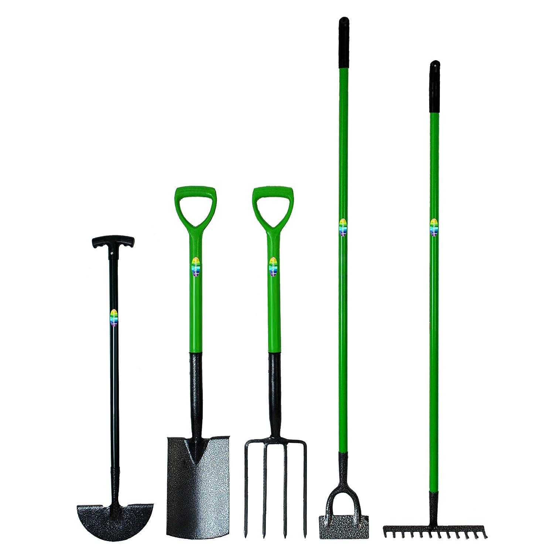 CrazyGadget Carbon Steel Heat Treated 5 Piece Gardening Tool Set 12 Tooth Rake Fork Hoe Spade Edging Iron Complete Garden Heavy Duty Set