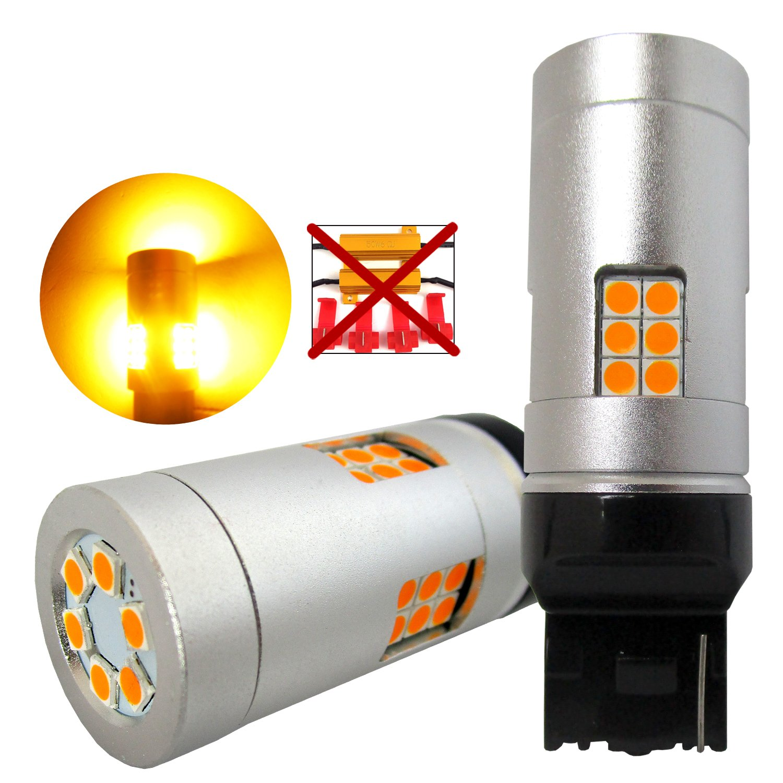 VehiCode Super Bright 4800 Lumens 21W 7440 (7440A/7440NA/T20/W21W/WY21W/7441) LED Light Bulb (6000K White) Built-in Resistor No Hyper Flash CanBus Error Free for Backup Reverse Tail Brake Light
