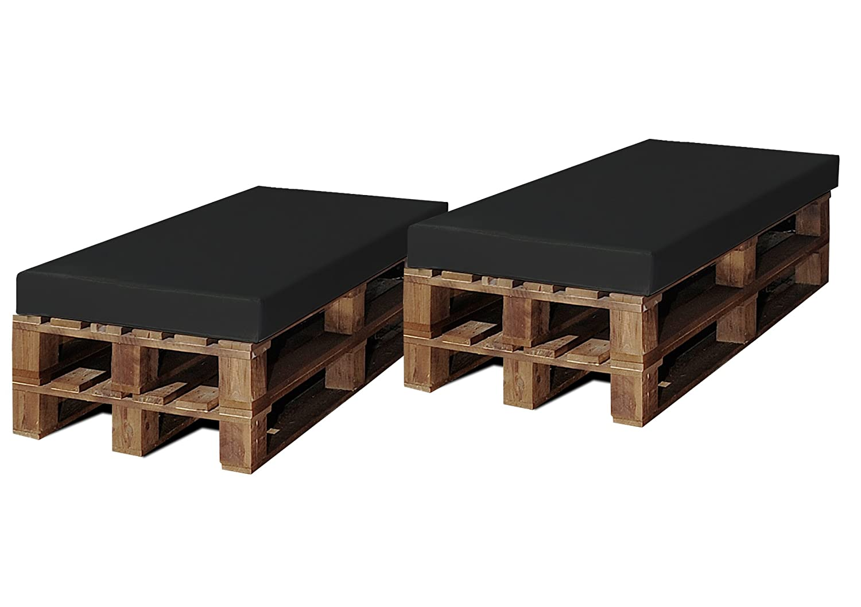 SERMAHOME- Pack Asientos enfundados en Polipiel Color Negro. Jardín, Piscina o Chill out. Medidas: 120 x 80 x 9 cm.