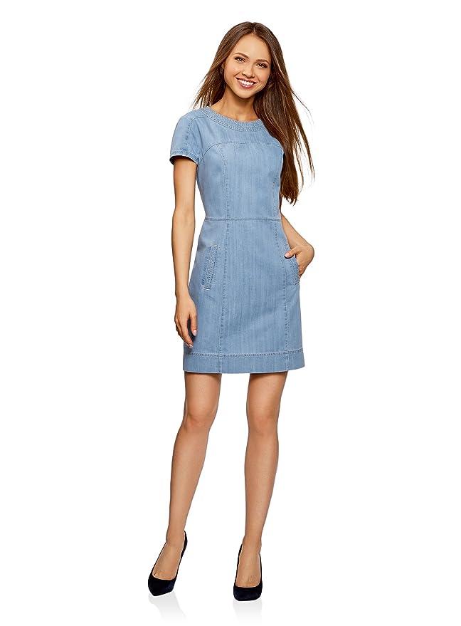 oodji Collection Damen Denim-Kleid mit Reißverschluss, Blau, DE 32 / EU 34  / XXS: Amazon.de: Bekleidung