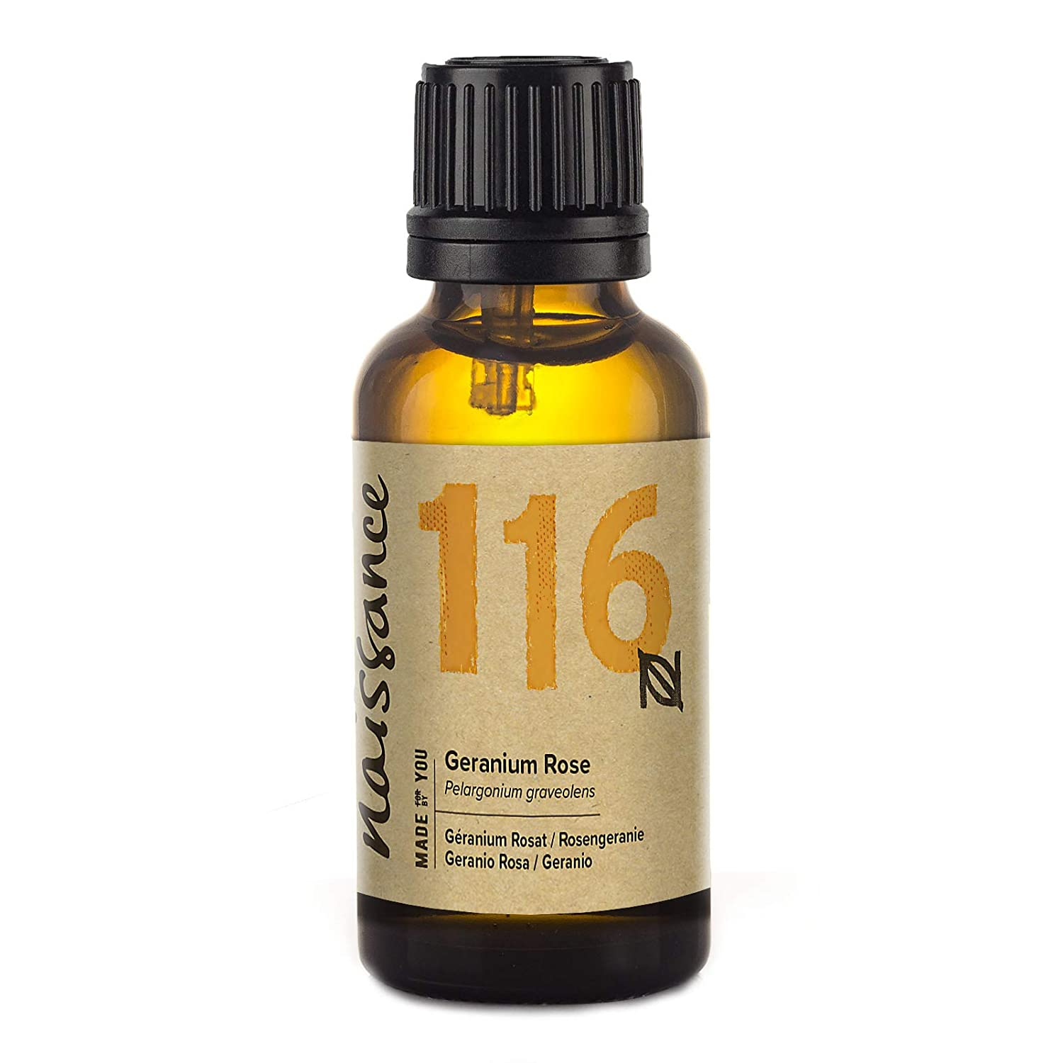 Naissance Geranium Rose Essential Oil (no. 116) 30ml - Pure, Natural, Steam Distilled, Cruelty Free, Vegan and Undiluted - Use in Aromatherapy & Diffusers