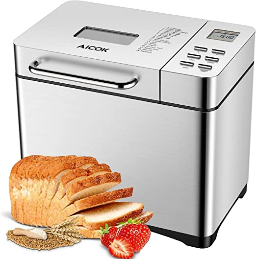Amazon.com: Aicok Máquina de pan de acero inoxidable, 2LB 19 ...