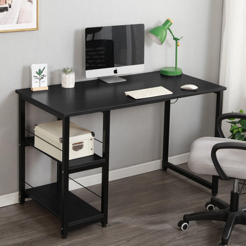 Amazon com soges 47 computer desk home office desk morden style with open shelves worksation desk black dz013 120 bk office products