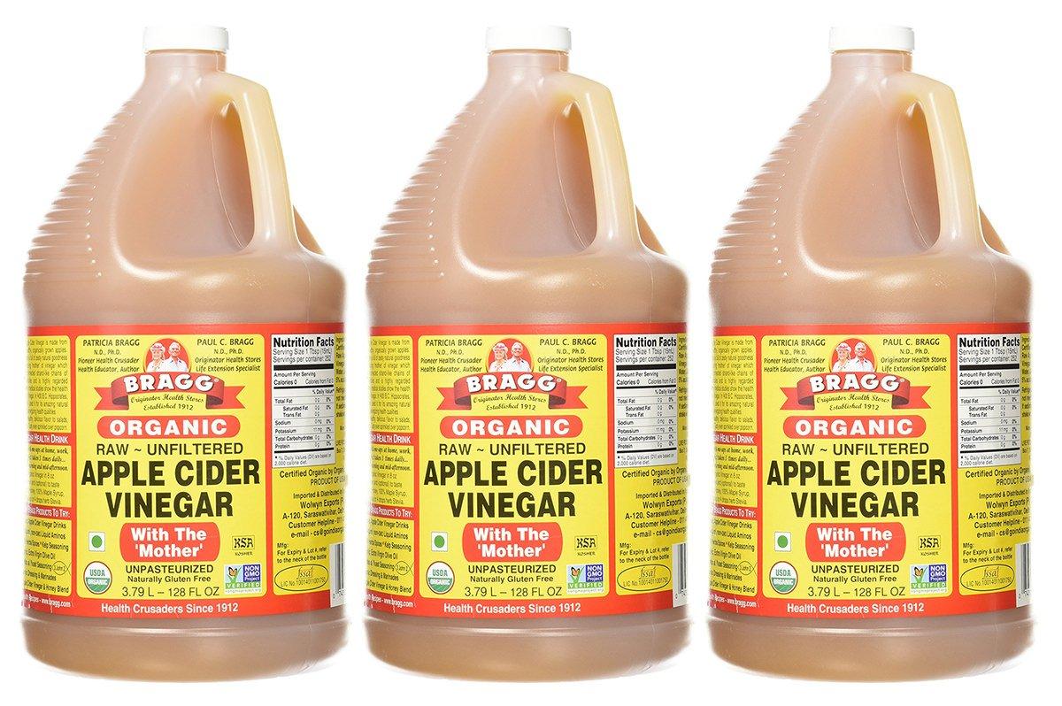Bragg Organic Raw Apple Cider Vinegar, 128 Ounce, 3 Gallons