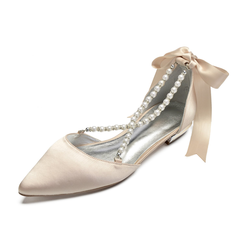 MarHermoso Womens Pointed Toe Cross Strap Pealrs Ribbon Tie Comfort Wedding Bridal Shoes B07FD2HVX8 6 B(M) US|Champagne