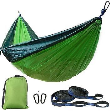 portable camping hammock   double parachute nylon camping hammock support 800lbs   banana hammock  green amazon    portable camping hammock   double parachute nylon      rh   amazon