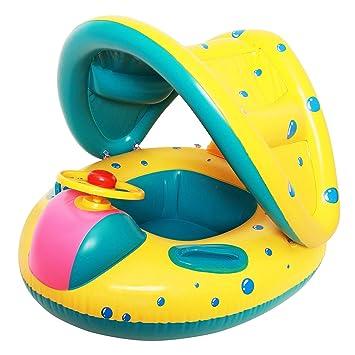 Xpddy Flotador para bebé con Asiento,Respaldo,Techo del Sol ...