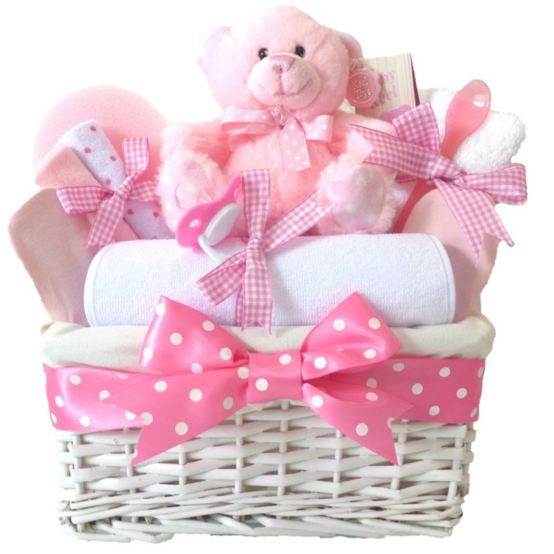 Panier garni en osier à offrir pour naissances et fêtes prénatales Rose/blanc Pitter Patter Baby Gifts