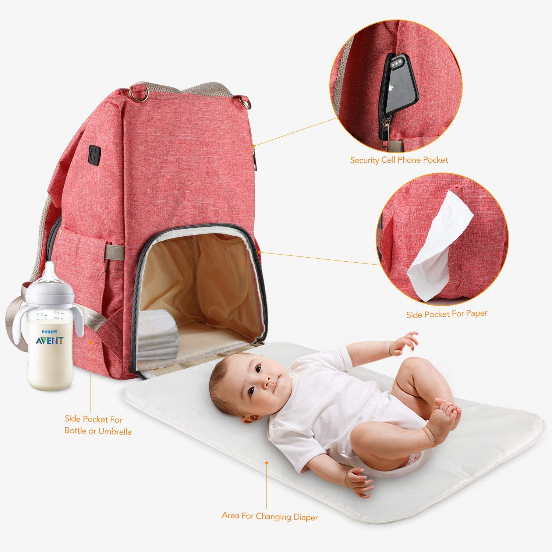 Baby Wickelrucksack mit Wickelunterlage und 2 Haken f/ür Kinderwagen Gro/ße Kapazit/ät Babytasche Reisetasche f/ür Unterwegs Grau