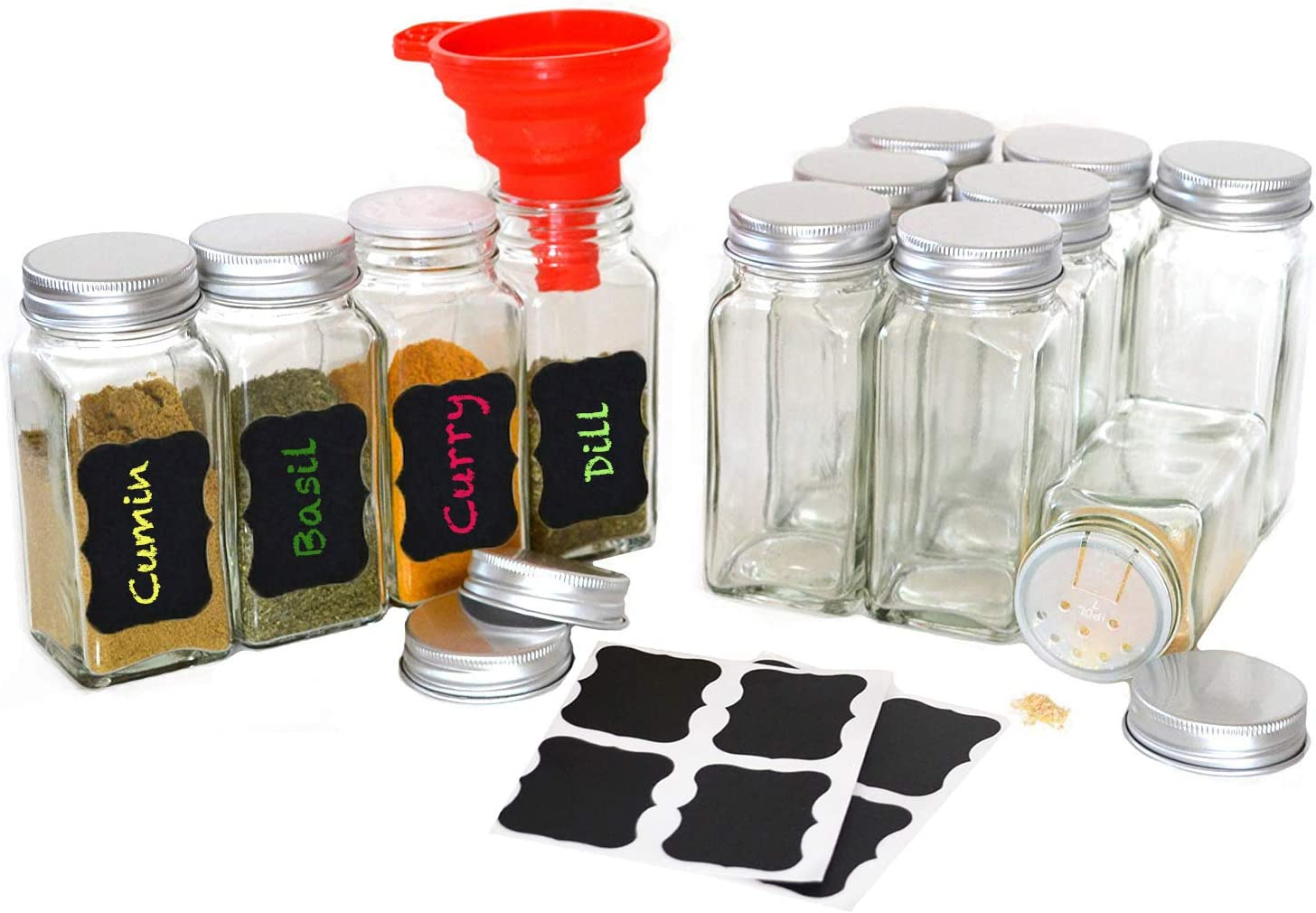 Square Glass Spice Jars Storage Small Container For Kitchen Organizing 12 Pieces