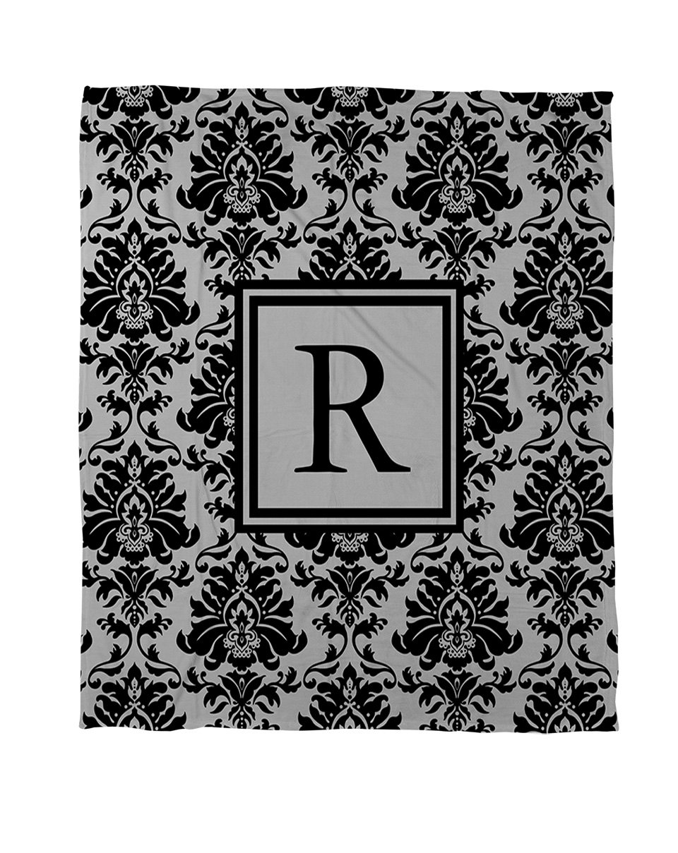 Manual Woodworkers & Weavers Duvet Cover, King, Monogrammed Letter R, Black and Grey Damask 3PF-GEN-SDKGDCC
