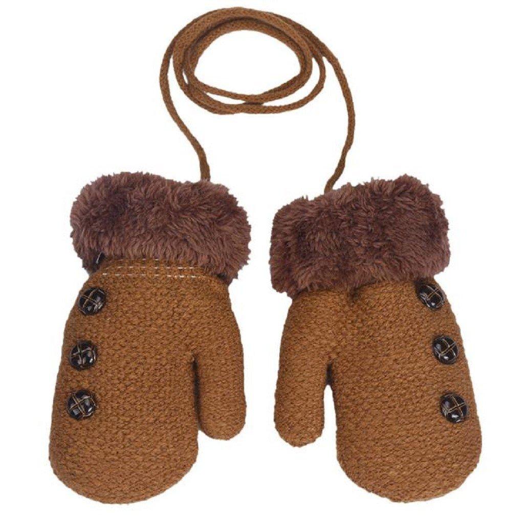 Vovotrade® Baby Boys Girls Keep Warm Leaf Gloves for 0-12 months (Beige)