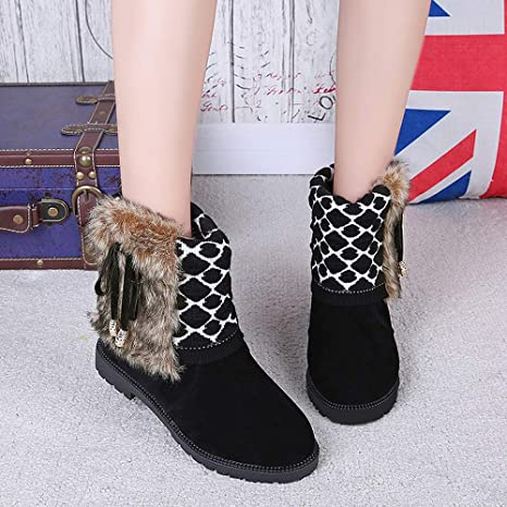 Amazon.com: Naladoo Women Fashion Snow Boots Ankle Boots Warmer Bowtie Flat Slip On Shoes: Clothing