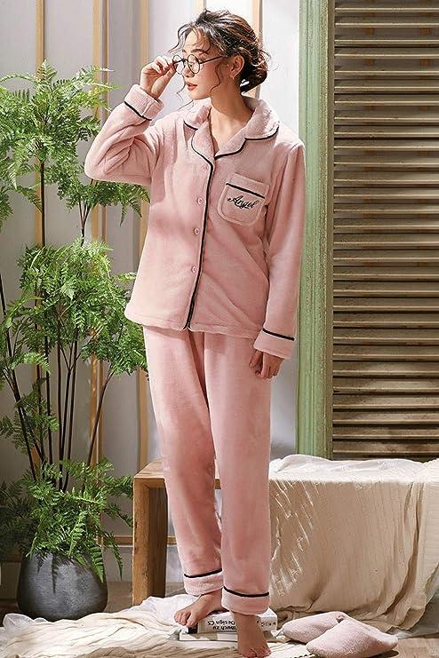 Bayrick Pijama Mujer Algodon Invierno,Lindo Conjunto de Pijamas de Terciopelo Coral otoño Invierno para Mujer más Conjunto de Pijamas de Terciopelo Grueso al Aire Libre-Código XXL_Letras Rosas: Amazon.es: Hogar
