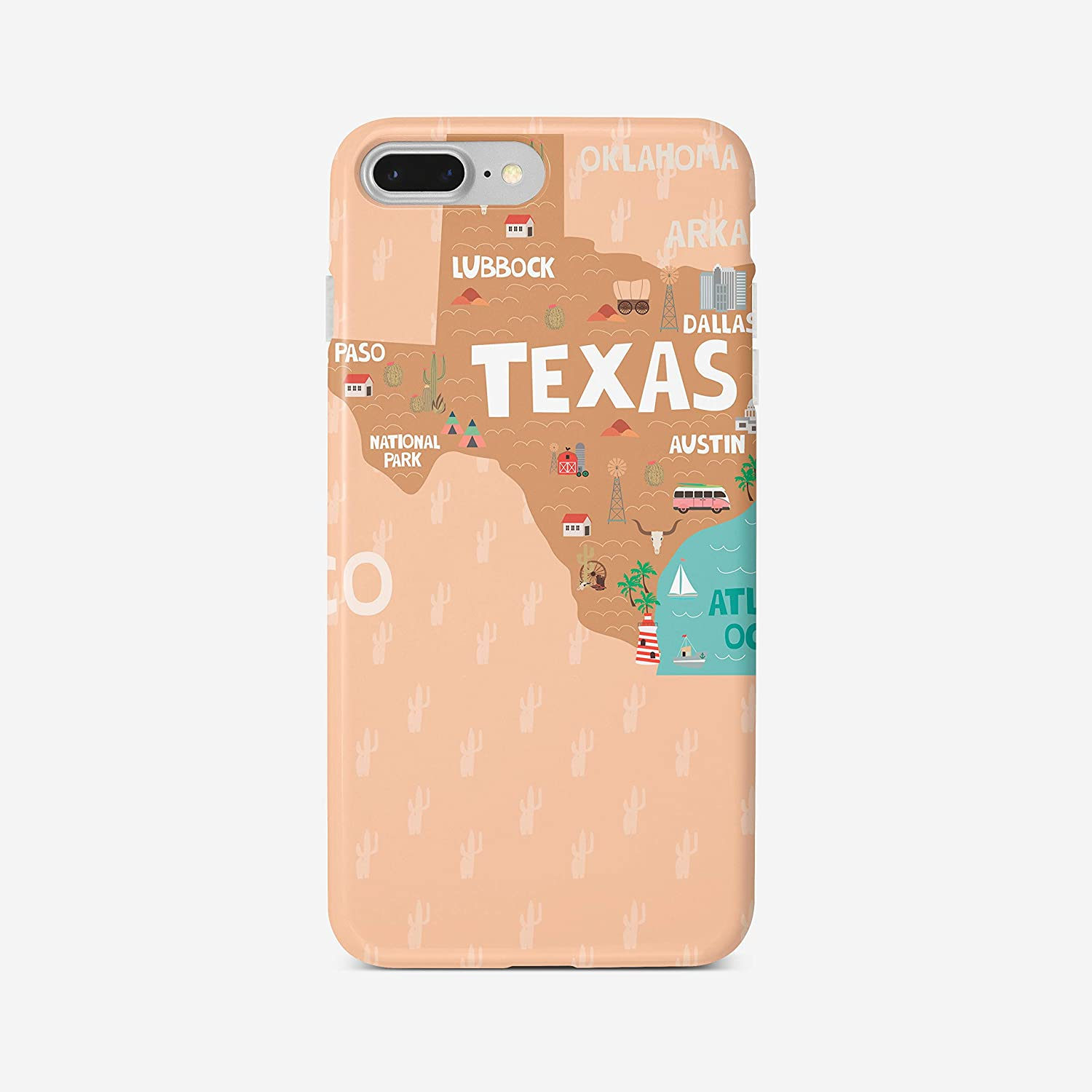 Amazon Com Vblt Case For Iphone 7 Plus 8 Plus Us States California Florida Texas Nevada Slim Fit Shock Absorption Cover Bumper Case Texas Electronics