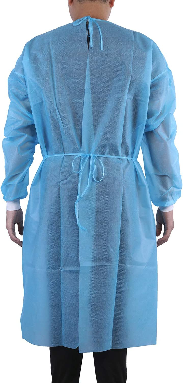 Latex Free Blue Raytex Plastic Disposable Gowns Clothing 10 PCS Anti-Spitting And Anti-Oil Suits Protective Clothing Elastic Cuffs With Waist Back Ties